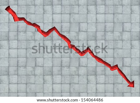 Arrow carved out in concrete wall showing economic decline - stock photo
