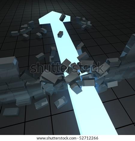 arrow crashing a wall  of brink - stock photo