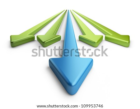 Arrow 3D. Competition concept. Isolated on white background - stock photo