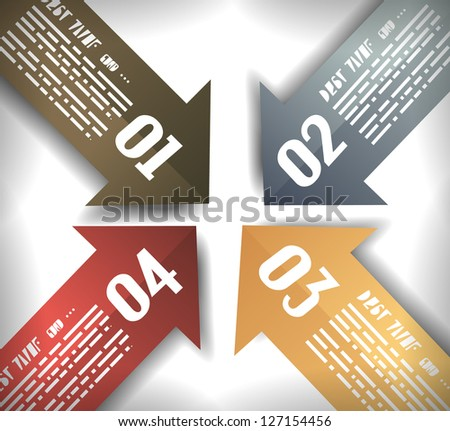 Arrow Designs Infographics Template with 5 arrows with space for text. Paper effect with delicate shadows. - stock photo