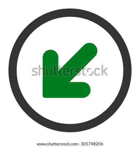 Arrow Down Left raster icon. This rounded flat symbol is drawn with green and gray colors on a white background.