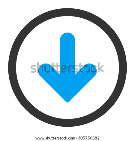 Arrow Down raster icon. This rounded flat symbol is drawn with blue and gray colors on a white background.