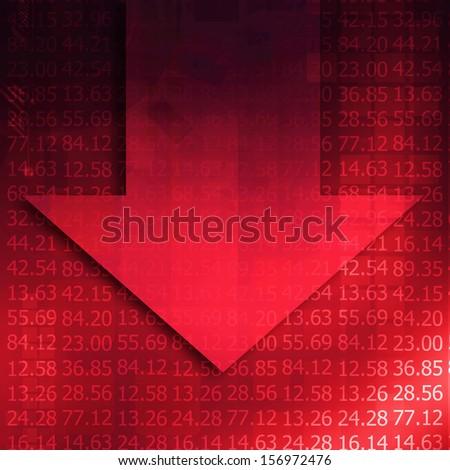 Arrow graph going down - stock photo