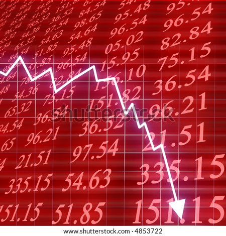 Arrow graph going down - stock photo