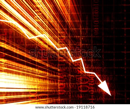 arrow graph going down on a red background - stock photo