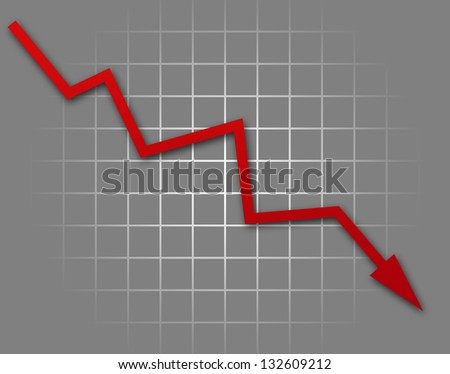 Arrow graph going down on gray background - stock photo