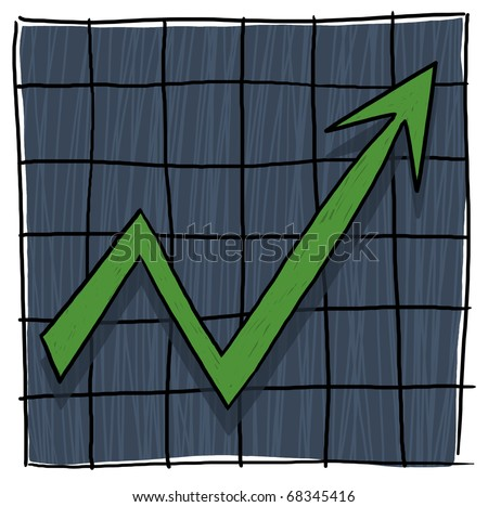 Arrow graph going up; Graph illustration - stock photo