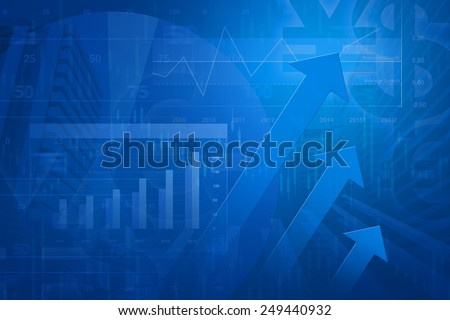 Arrow head with Financial chart and graphs on city background, blue tone - stock photo