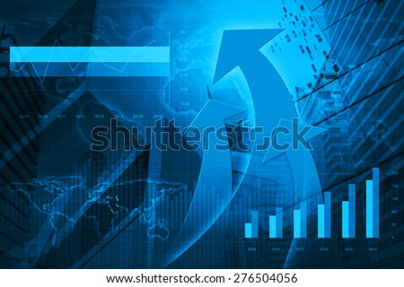 Arrow head with Financial chart and graphs on city background, Elements of this image furnished by NASA - stock photo