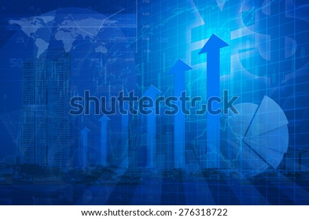 Arrow head with Financial chart, success global concept, Elements of this image furnished by NASA