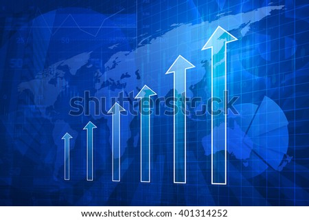 Arrow head with financial graph and map on city background, Successconcept, Elements of this image furnished by NASA