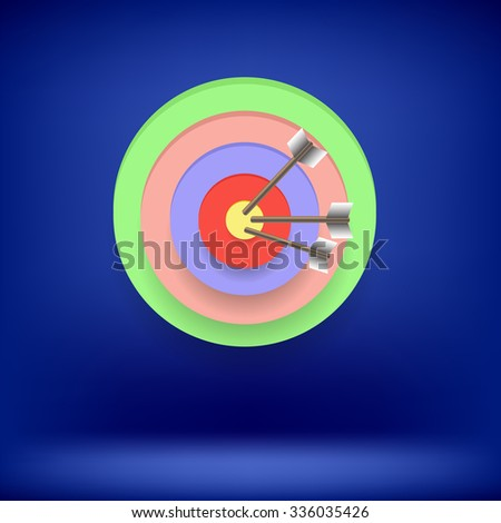 Arrow Hit Right on Target. Target Concept on Blue Background. Achieving Goal - stock photo