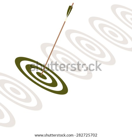 Arrow hitting the center of a green board image with hi-res rendered artwork that could be used for any graphic design.  - stock photo
