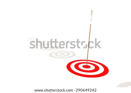 Arrow hitting the center of a red target image with hi-res rendered artwork that could be used for any graphic design. - stock photo