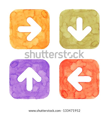 Arrow icon button with sign. Orange, green, violet, red isolated rounded square shape on white background. This image created in watercolor handmade technique. Web design element UI user interface - stock photo