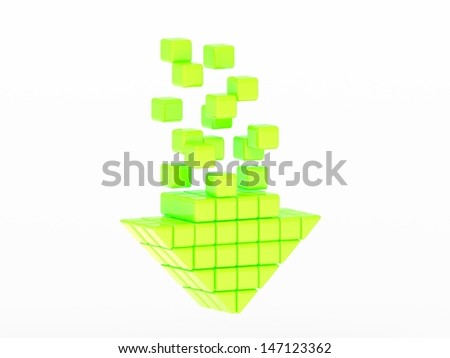 Arrow icon made of cubes isolated - stock photo