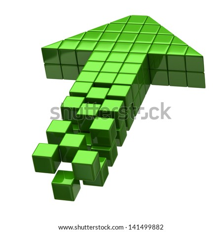 Arrow icon made of green cubes isolated on white - stock photo
