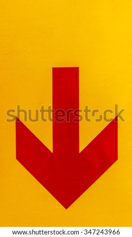 Arrow image red yellow background. - stock photo