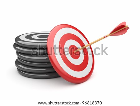 Arrow in target 3D. success hitting. Business concept. Isolated on white
