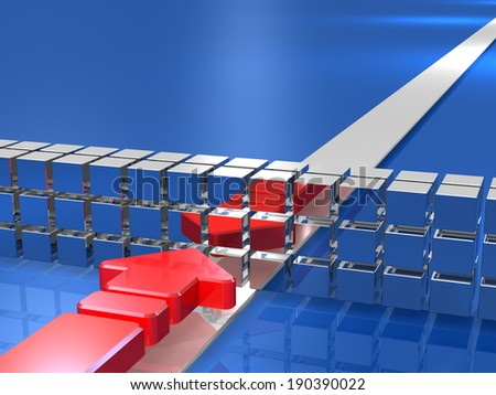 Arrow is obstructed by the obstacle. It expresses the stagnation. - stock photo