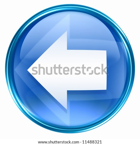 Arrow left icon blue, isolated on white background. - stock photo