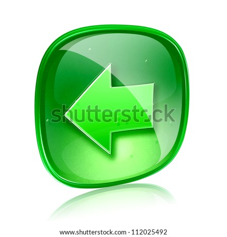 Arrow left icon green glass, isolated on white background. - stock photo