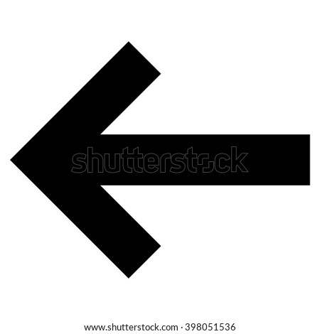 Arrow Left raster icon. Style is flat icon symbol, black color, white background.