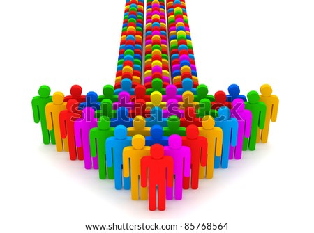 Arrow made from colorful 3d people - stock photo