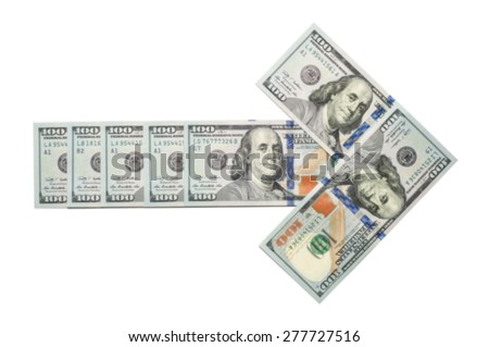 Arrow made of blurred one hundred dollar notes isolated on white