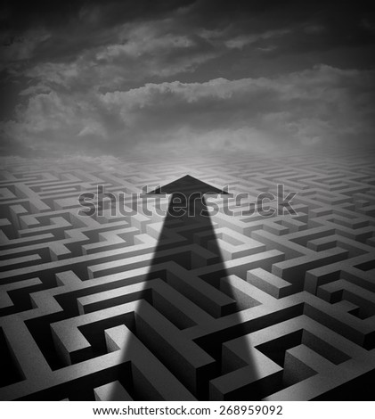 Arrow maze business concept as a cast shadow cutting across a three dimensional labyrinth as a success metaphor and solution symbol for finding an  innovative way of moving across a problem. - stock photo