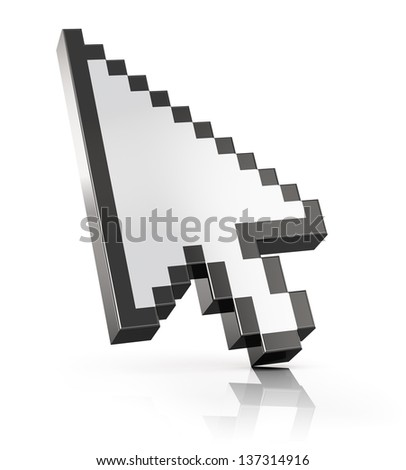 Arrow mouse computer cursor isolated on white background with reflection effect - stock photo