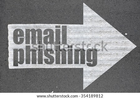 Arrow on asphalt road written word email phishing  . - stock photo