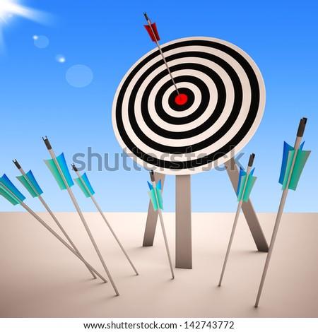 Arrow On Dartboard Showing Successful Shot Or Precise Aim - stock photo
