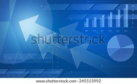 Arrow on financial graph and chart for business background, blue tone - stock photo