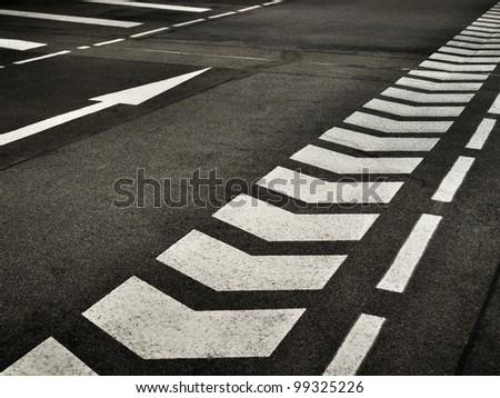 arrow on street - stock photo