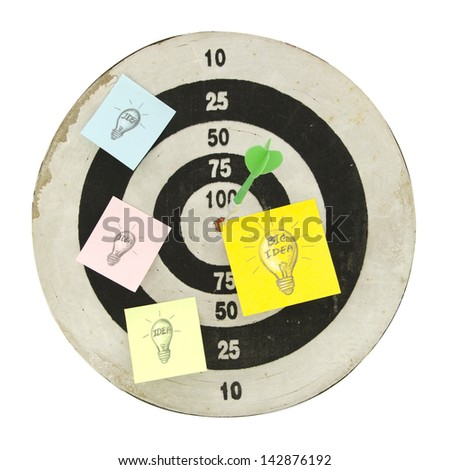 """Arrow on target with paper note  """"BIG IDEA"""" , business concept - stock photo"""