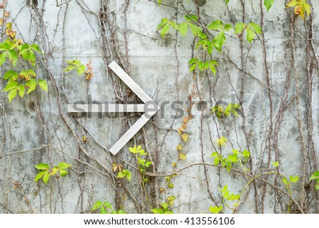 Arrow over creeper wall - stock photo