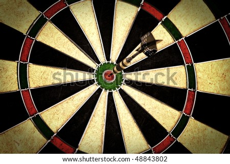 arrow pointed in center of bulls-eye