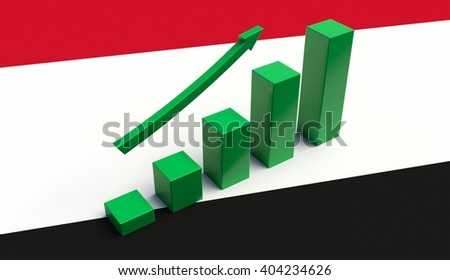 Arrow pointing up on a Flag of Yemen. 3D illustration