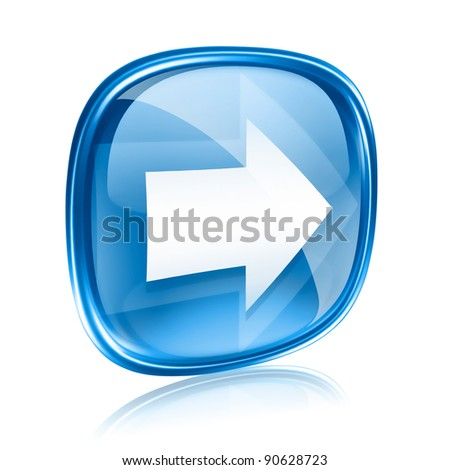 Arrow right icon blue glass, isolated on white background. - stock photo