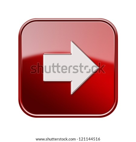 Arrow right icon glossy red, isolated on white background - stock photo