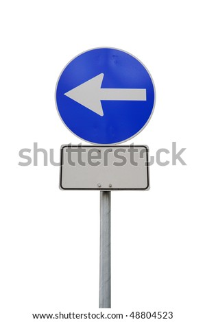 Arrow road sign left with billboard isolated - stock photo