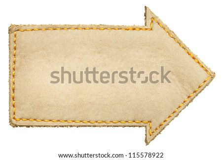 Arrow shape leather label, isolated - stock photo