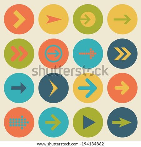 Arrow sign icon set, flat design, web design elements - stock photo