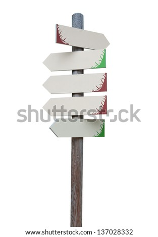 Arrow signs on wooden pole isolated on a white background.