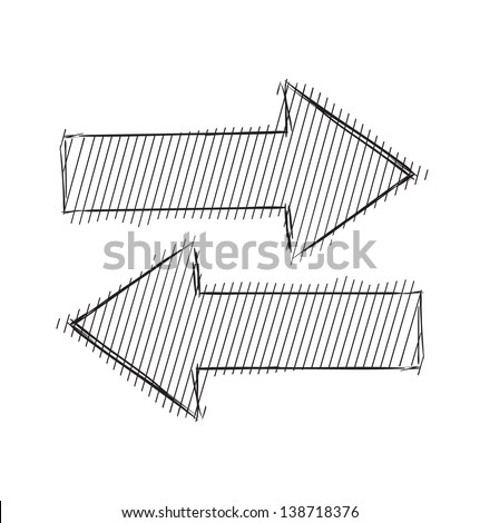 Arrow sketch symbol - stock photo