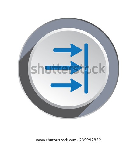 Arrow to right icon. Move, direction cursor sign.  Guide, time limit symbol. Three pointers blue silhouette on circle grey button.  - stock photo