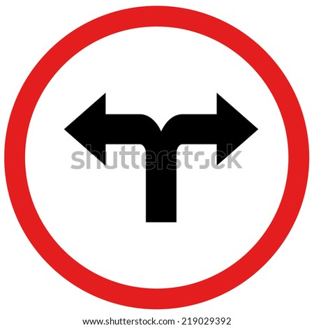arrow turn left or turn rightn sign board traffic  - stock photo