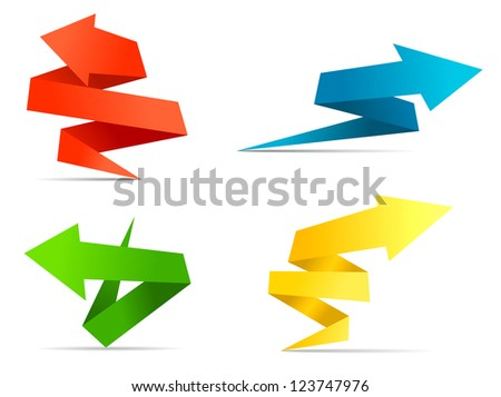 Arrow web banners and labels in origami style for web design. Vector version also available in gallery - stock photo