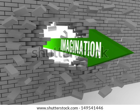 Arrow with word Imagination breaking brick wall. Concept 3D illustration. - stock photo